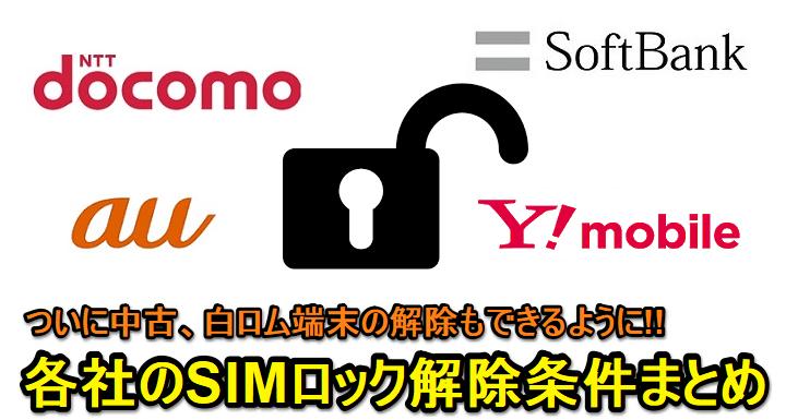 解除 ワイ モバイル sim ロック