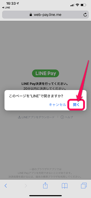 LINE STORE Pay支払い
