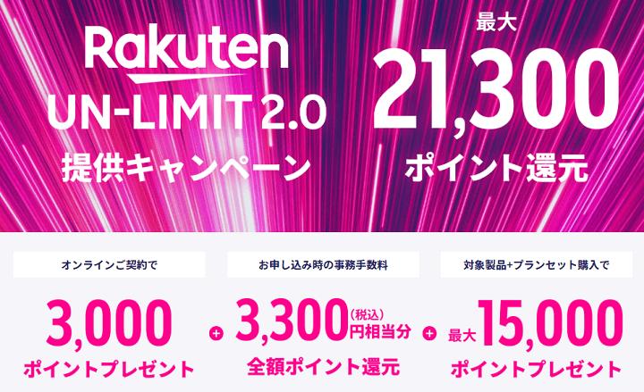 Rakuten UN-LIMIT対象製品購入サポートキャンペーン